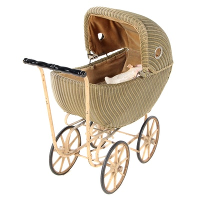 Victorian Style Wicker Baby Stroller with Bisque Doll, Early 20th Century