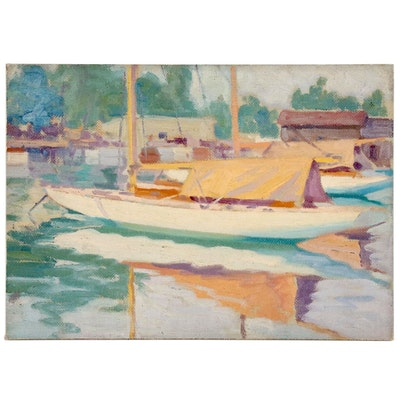 Harbor Scene Oil Painting, 1931