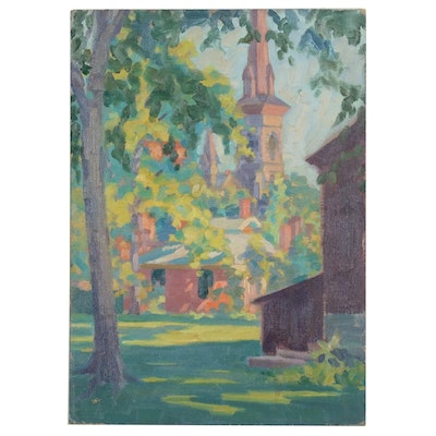 Landscape with Church Oil Painting, 1931