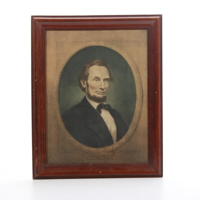 Abraham Lincoln Hand-Colored Lithographic Portrait, Framed