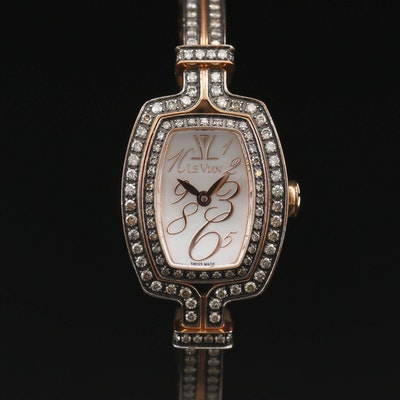 Le Vian Chocolate Cush'n Bangle 1.17 CTW Diamond and Stainless Steel Wristwatch