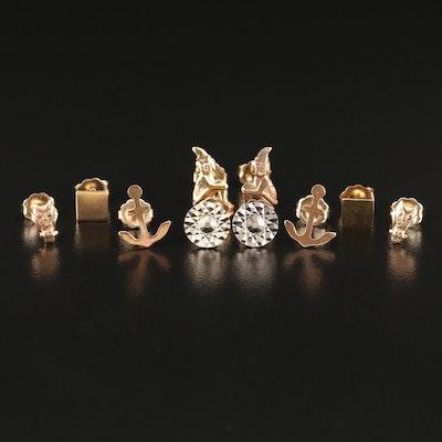 Assortment of 14K Gold  Stud Earrings
