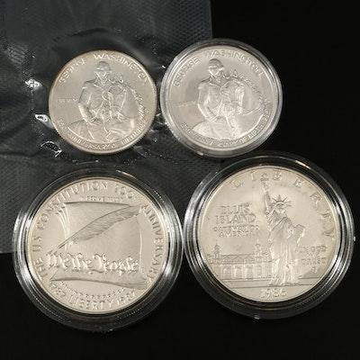 Four Commemorative US Mint Silver Coins