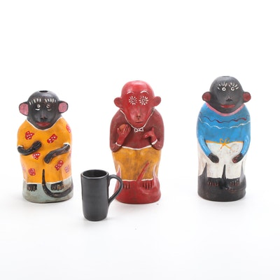 Oaxacan Chango Mezcalero Figural Monkey Mezcal Bottles and Signed Artisan Cup