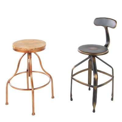 Two Industrial Style Metal Stools