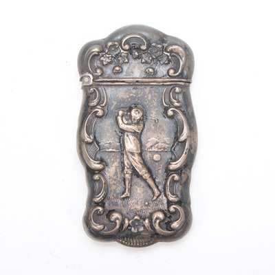 Sterling Silver Match Holder with Golfer Motif
