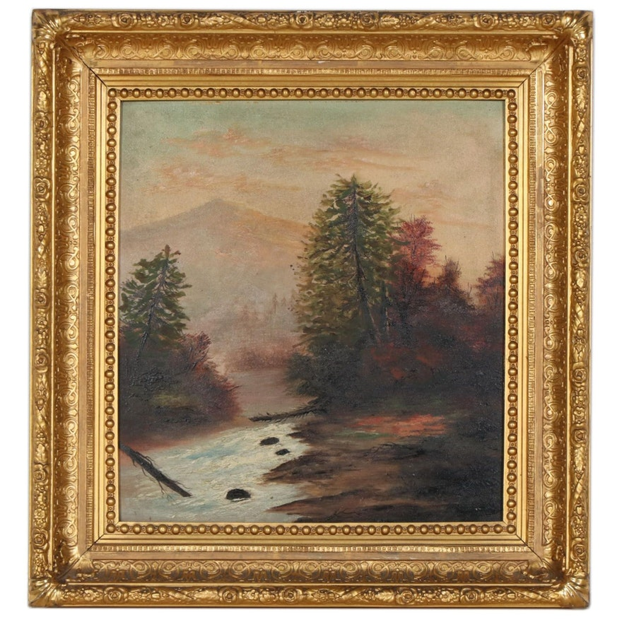 American School Style Oil Painting, Early-Mid 20th Century