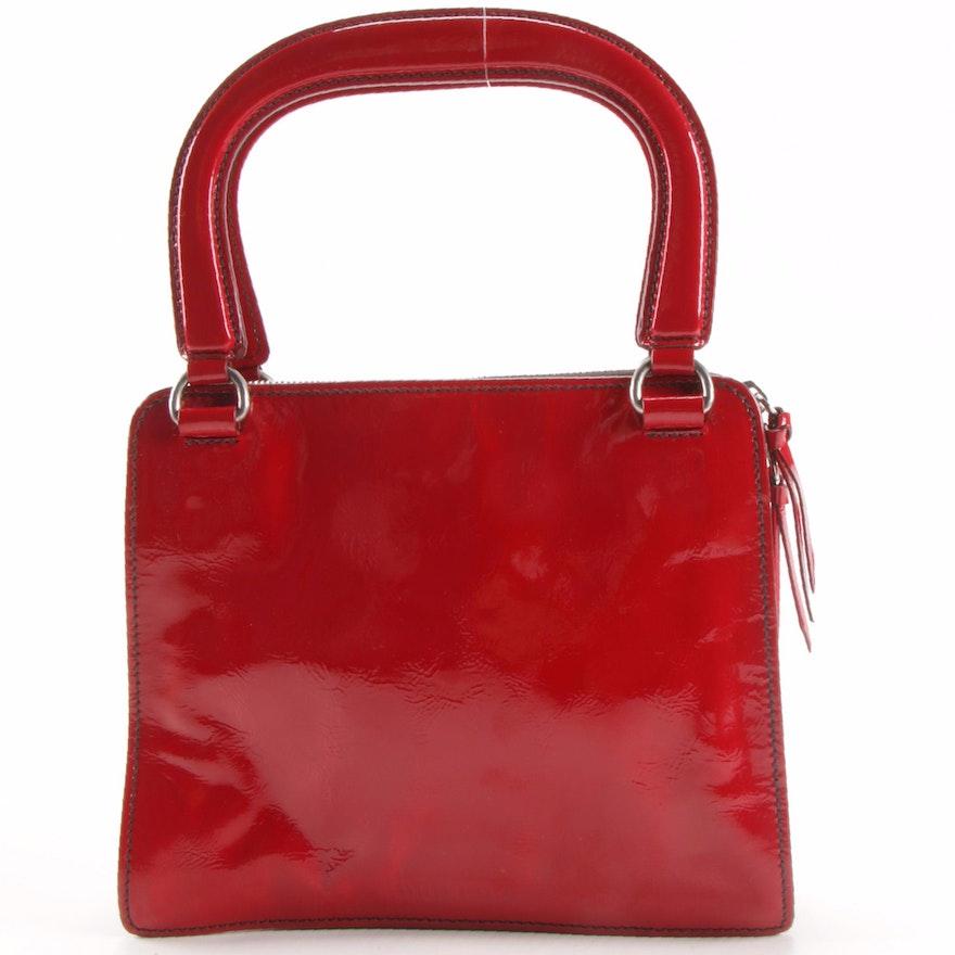 Miu Miu Red Crinkle Patent Leather Handbag