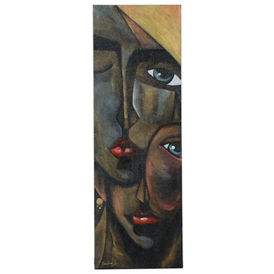 "Farshad Lanjani Acrylic Painting ""Faces"""