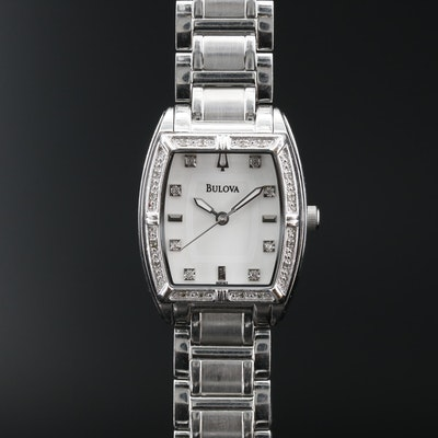 Bulova Diamond Bezel and Dial Stainless Steel Quartz Wristwatch
