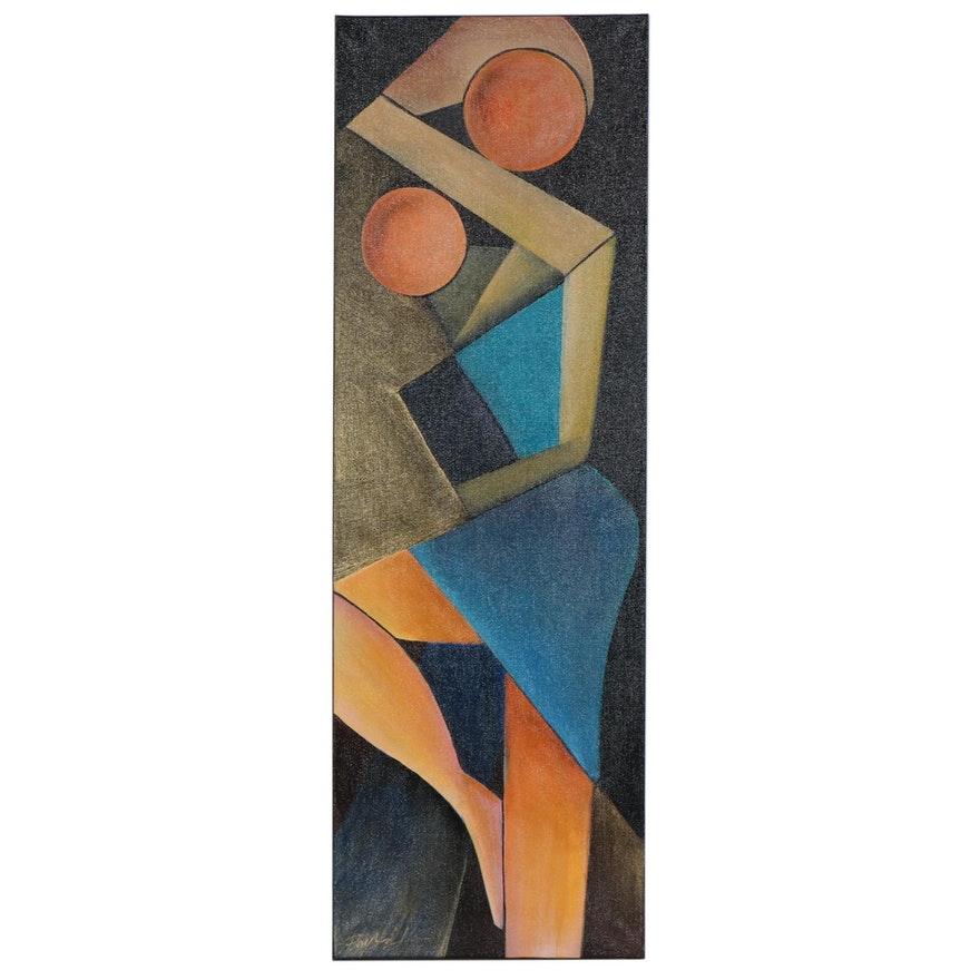 "Farshad Lanjani Acrylic Painting ""Mother and Child"""