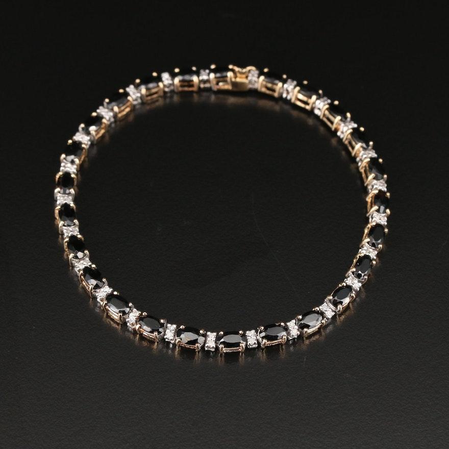 14K White Gold Black Onyx and Diamond Bracelet