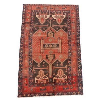 4'3 x 7'9 Hand-Knotted Persian Kurdish Kolyai Wool Rug