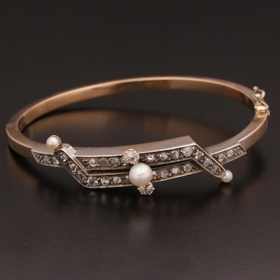 Vintage French 18K Diamond and Seed Pearl Hinged Bangle with Sterling Accents