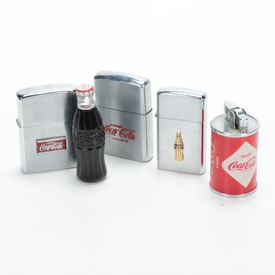 Coca-Cola Advertising Pocket and Table Lighters, Vintage