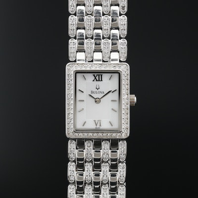 Bulova Mother of Pearl and Crystal Stainless Steel Quartz Wristwatch