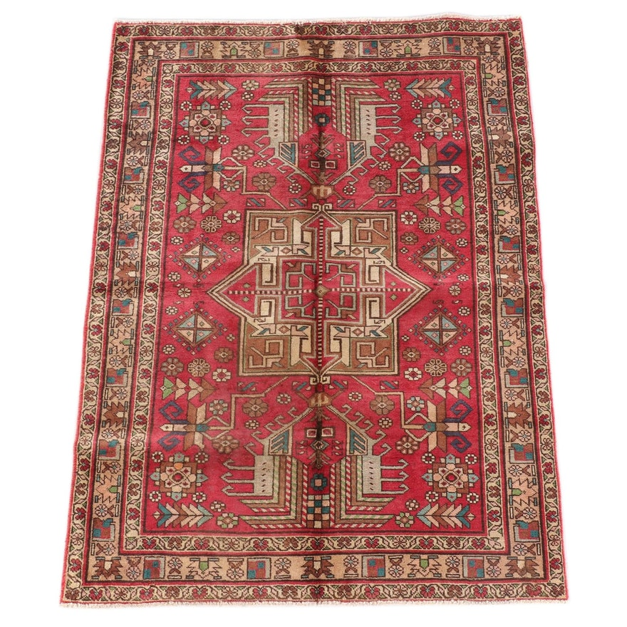4'6 x 6'4 Hand-Knotted Persian Khamseh Wool Rug