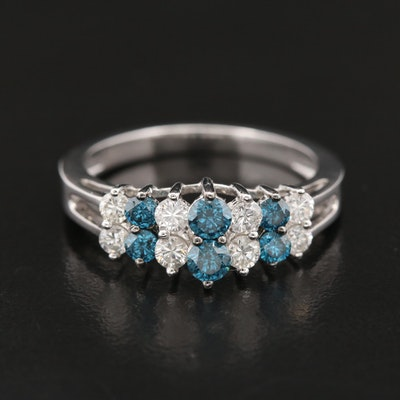 14K White Gold Diamond Ring Featuring Blue Diamonds