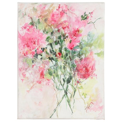 Sue Dion Floral Acrylic Painting