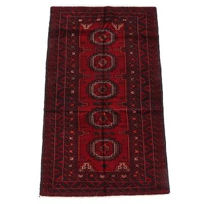 3'6 x 6'6 Hand-Knotted Afghani Bokhara Wool Rug