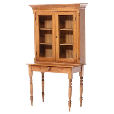 Federal Style Pine Desk with Bookcase, Mid to Late 20th Century