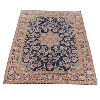 9'0 x 12'0 Hand-Knotted Persian Malayer Wool Rug