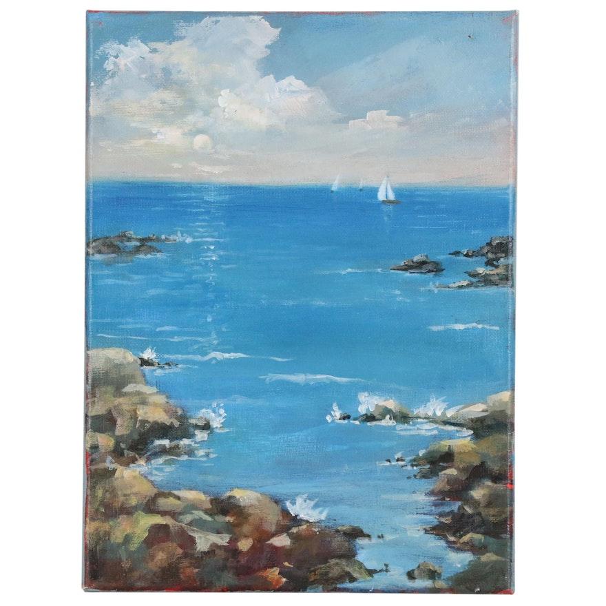 Sue Dion Seascape Acrylic Painting, 21st Century