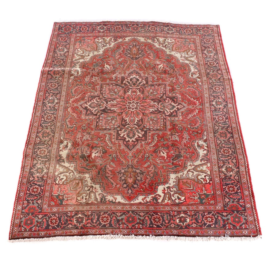 7'9 x 11'0 Hand-Knotted Persian Heriz Wool Rug