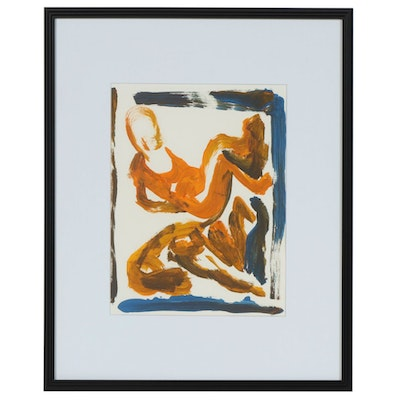 Paul Chidlaw Crouching Figures Acrylic Painting, Mid to Late 20th Century