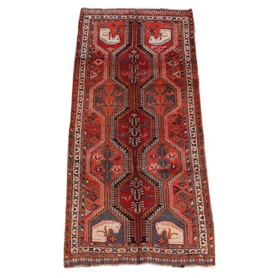 4'1 x 9'2 Hand-Knotted Persian Qashqai Wool Long Rug