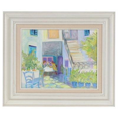 Impressionist Style Café Patio Scene Oil Painting