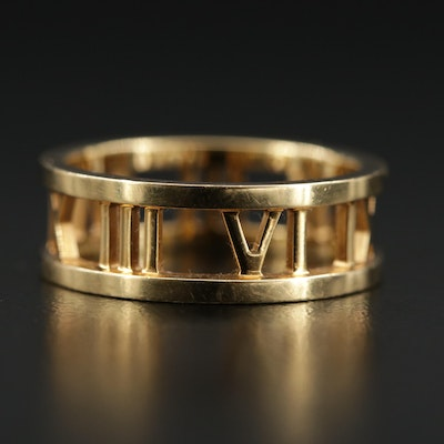"""Tiffany & Co. """"Atlas Collection"""" 18K Roman Numeral Ring"""