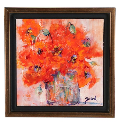 Sue Dion Floral Still Life Acrylic Painting