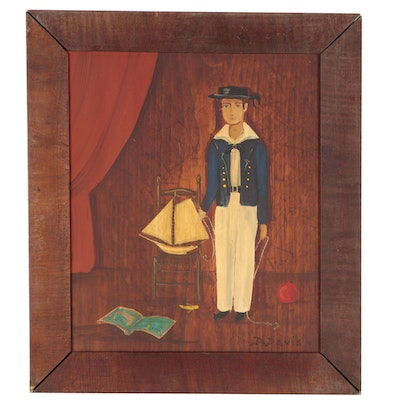 Dorothy Davis Folk Portrait Painting of Young Man with Toy Boat, 1962