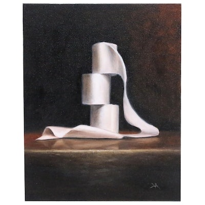 "Houra H. Alghizzi Oil Painting ""Stacked"", 2020"