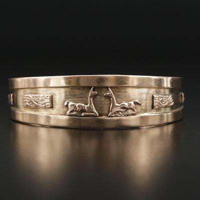 Mesoamerican 14K Tri-Color Cuff Bracelet