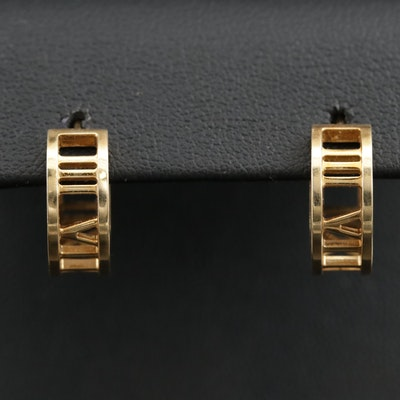 "Tiffany & Co. ""Atlas Collection"" 18K Yellow Gold Hoop Earrings"