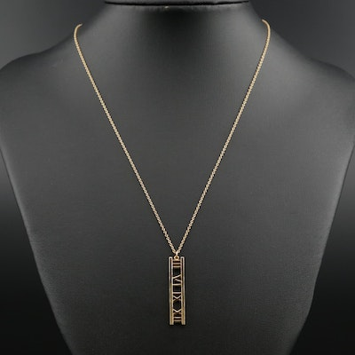 "Tiffany & Co. ""Atlas Collection"" 18K Yellow Gold Roman Numeral Pendant Necklace"
