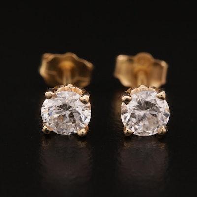 14K 0.85 CTW Diamond Solitaire Stud Earrings