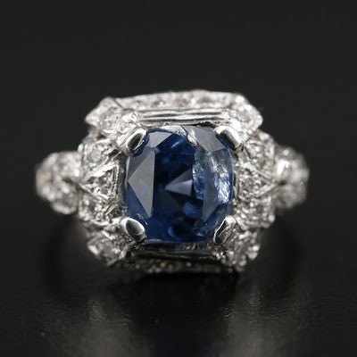 Platinum 3.75 CT Sri Lankan Sapphire and Diamond Ring with GIA Report