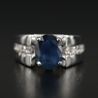 14K 1.80 CT Oval Faceted Sapphire and Channel Set Diamond Ring