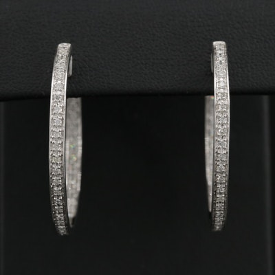 14K White Gold 1.01 CTW Diamond Inside Out Hoop Earrings