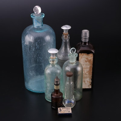 Atlas Brand Bitters, Ramon's Aspirin Carton, with Other Tonic and Glass Bottles