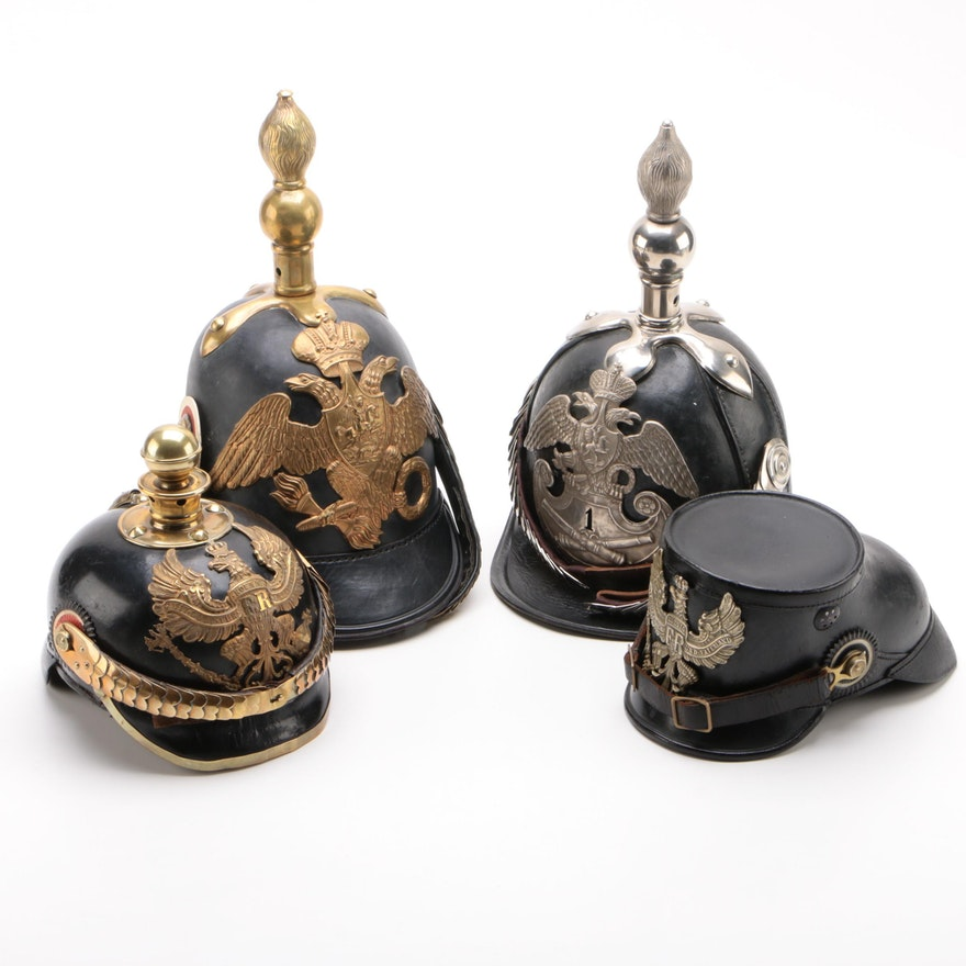 Fine Replica Models of German and Russian Pickelhaube Style Military Helmets