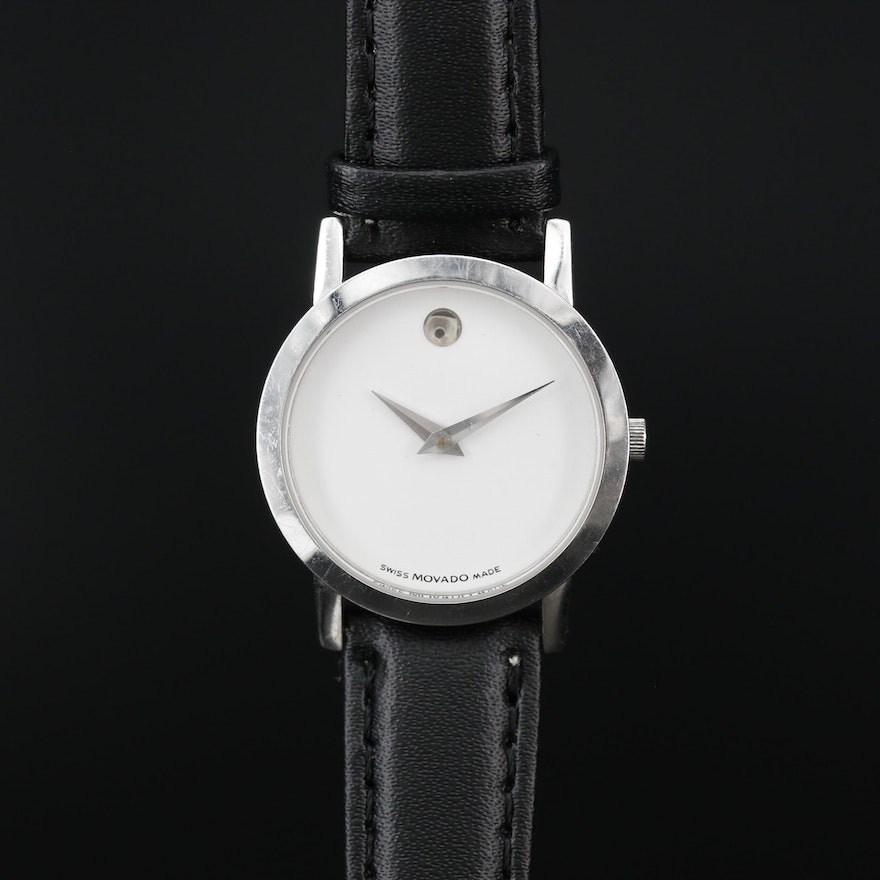 Movado Museum White Dial Stainless Steel Wristwatch