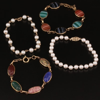 Bracelet Collection with Rhodochrosite, Unakite and Agate