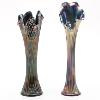 "Fenton ""Diamond Point Columns"" with Other Ribbed Carnival Glass Vase"