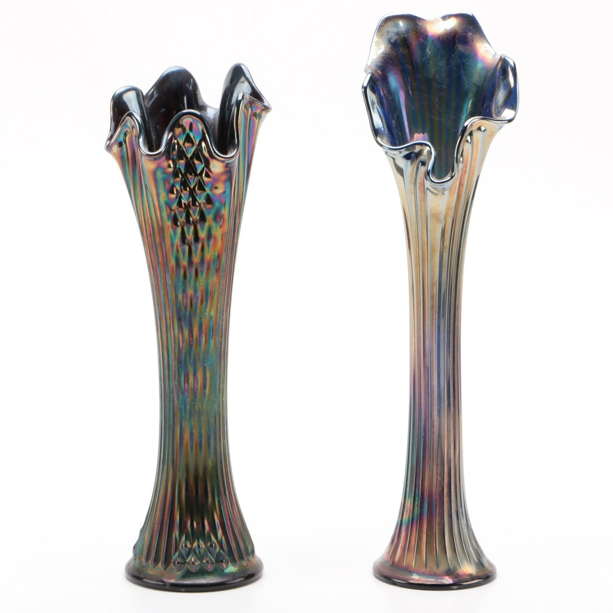 """Fenton """"Diamond Point Columns"""" with Other Ribbed Carnival Glass Vase"""