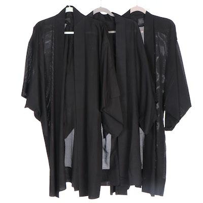 Japanese Black Woven Summer Haori Jackets