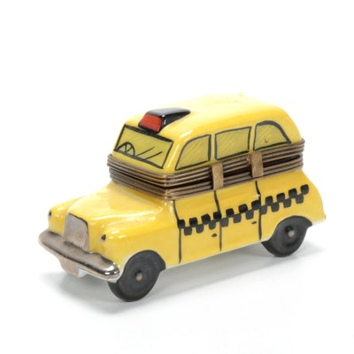 Rochard Hand-Painted Porcelain Taxi Limoges Box